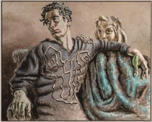 Alberto Savinio (Atene 1891-Roma 1952) Orfeo e Euridice 1951 tempera su cartone acquistato alla XXVII Biennale Internazionale d'Arte della Città di Venezia, 1954 Firenze, Galleria d'arte moderna di Palazzo Pitti